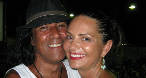 Elymar Santos e Luiza Brunet, rainha de bateria, durante ensaio na quadra  da Imperatriz Leopoldinense 