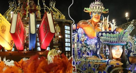 Montagem traz carros da Salgueiro e da Beija Flor nos desfiles da Sapucaí (14/02/2010)
