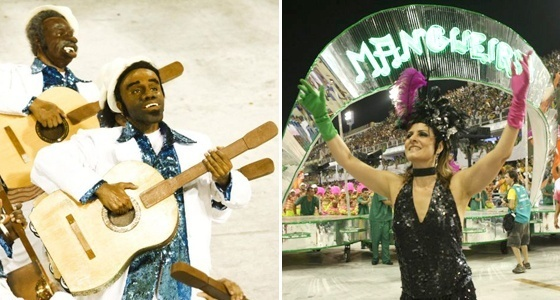 Componentes da Vila Isabel e a cantora Fernanda Abreu na Mangueira (15/02/2010)