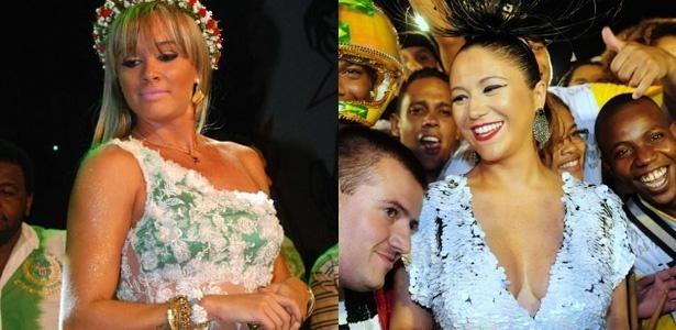 A assistente de palco Juju Panicat e a cantora Maria Rita, respectivamente destaques das escolas Mancha Verde e Vai-Vai, que desfilam esta sexta-feira (4) no Anhembi, em São Paulo