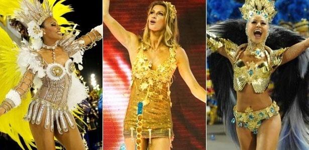 Sheron Menezes, Gisele Bündchen e Sabrina Sato no Carnaval carioca