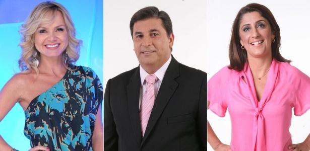 Da esquerda para a direita, os apresentadores Eliana, Carlos Nascimento e Simone Queiroz
