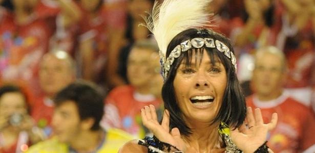 Adriane Galisteu no desfile da Unidos da Tijuca