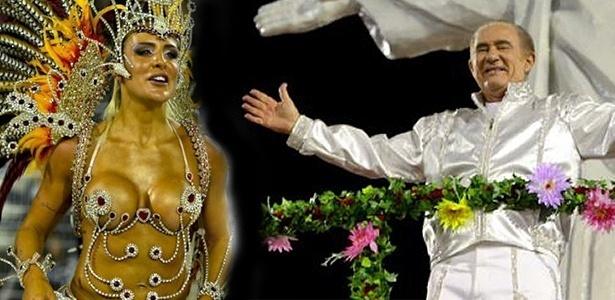 Joana Machado e Renato Aragão desfilam pela X-9 com samba-enredo em homenagem ao humorista (05/03/2011)