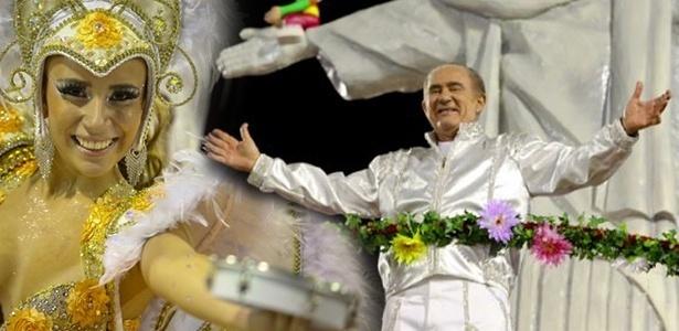 O humorista Renato Aragão desfila em carro alegórico da X-9, escola que o homenageou neste Carnaval (05/03/2011)